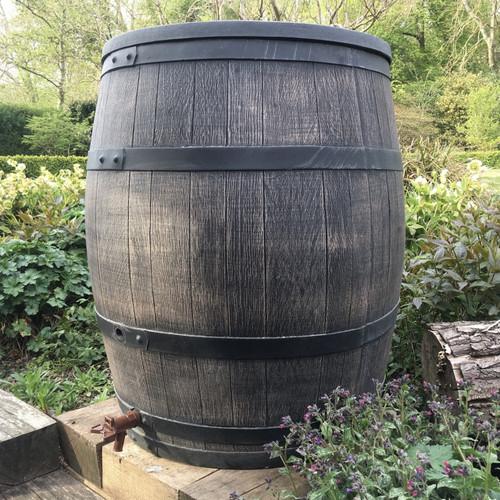 240 Litre Large Roto Water Butt, Wood Effect Oak Barrel Style
