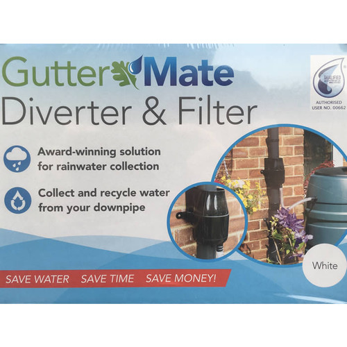 Gutter Mate (GutterMate) Rainwater Diverter and Filter in White