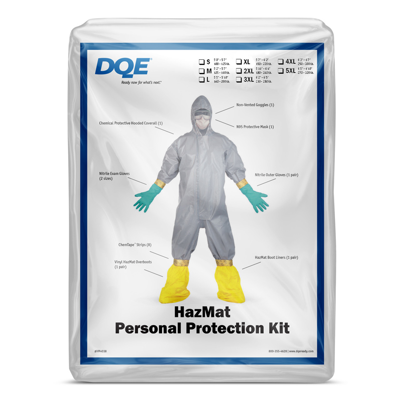 personal protective kit with n95 mask hazmat suit goggles