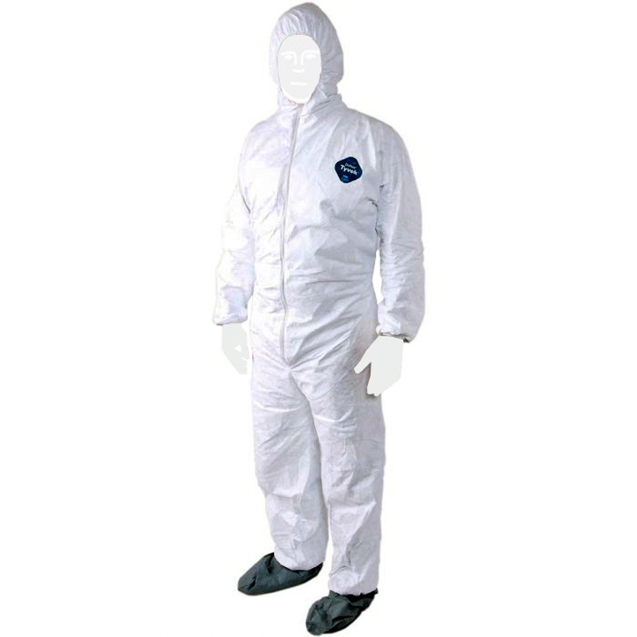 Disposable Coveralls with Hood Protective Suit Bootie White Microporous Elastic Wrist 1, Medium