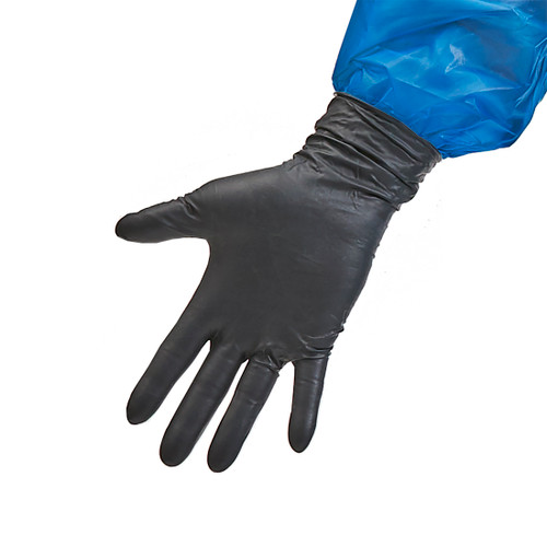 Nitrile Extended Cuff Black Exam Gloves - 8 mil image