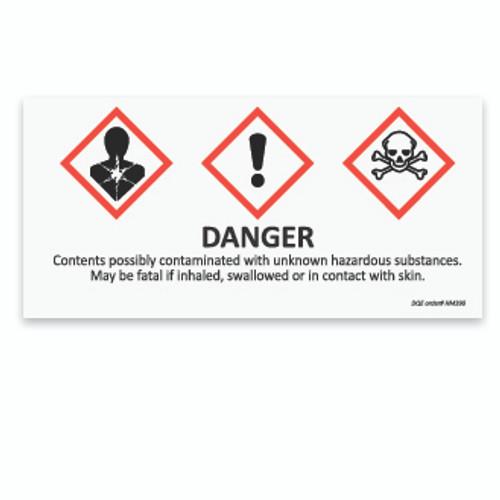 Unknown Hazardous Substances Label image