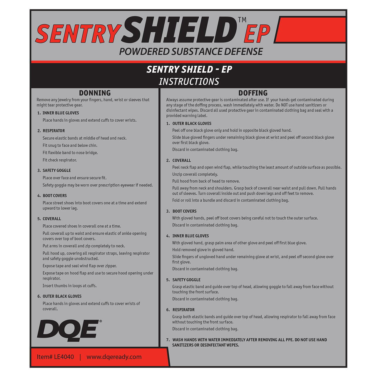 Sentry Shield EP - Powdered Substance Defense Kit