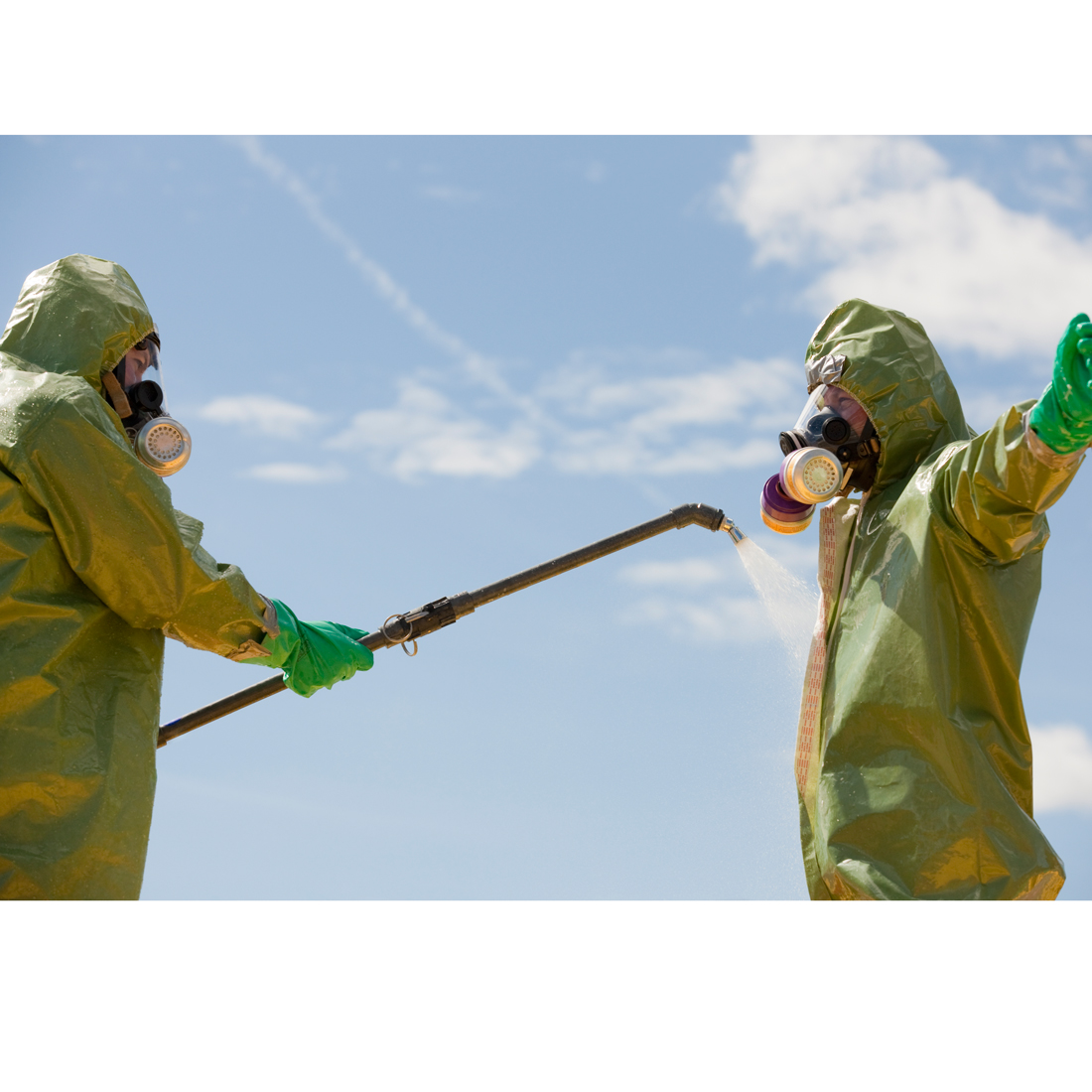 Decontamination wand in use.
