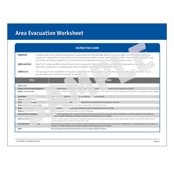 Area Evacuation Worksheet Instructions image