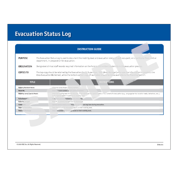 Evacuation Status Log Instructions image