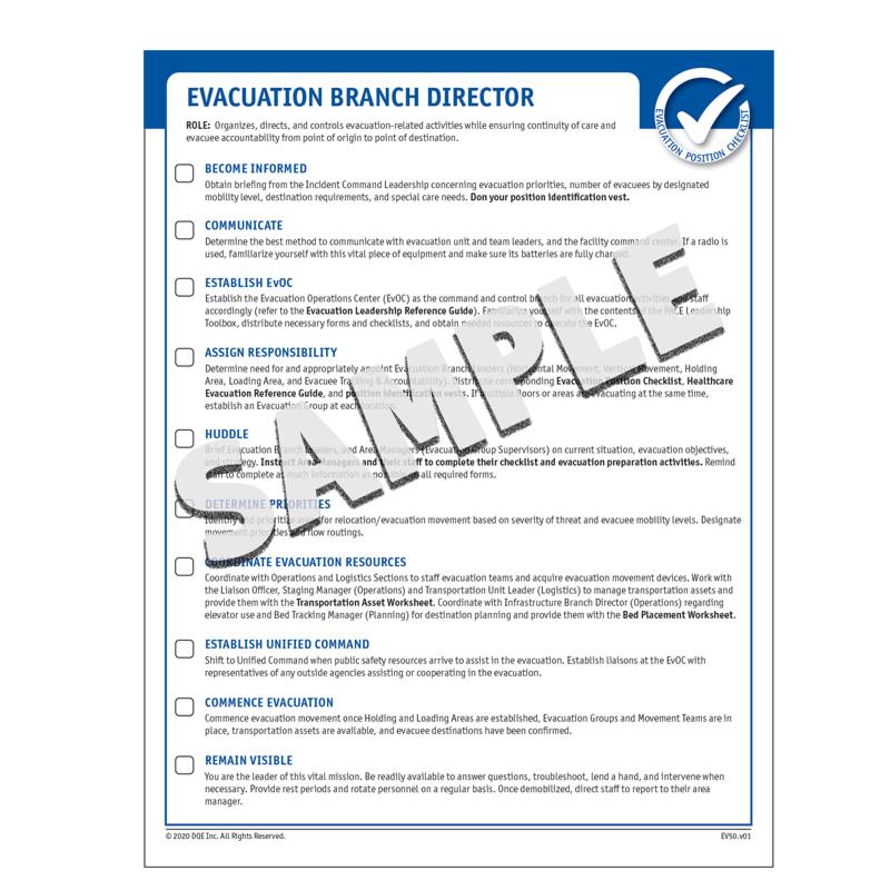 Evacuation Position Checklist Sample image