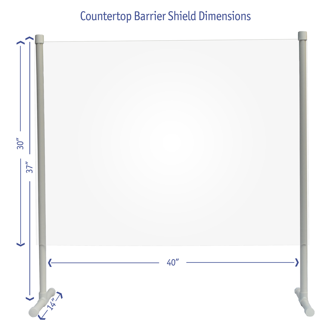 Countertop barrier shield dimensions image
