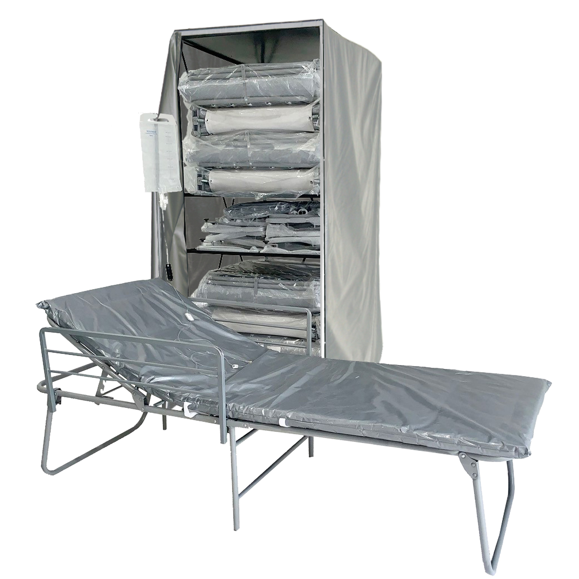 Emergency Bed Cart with FEMA-ADA Cot with Side Rails and IV Pole image