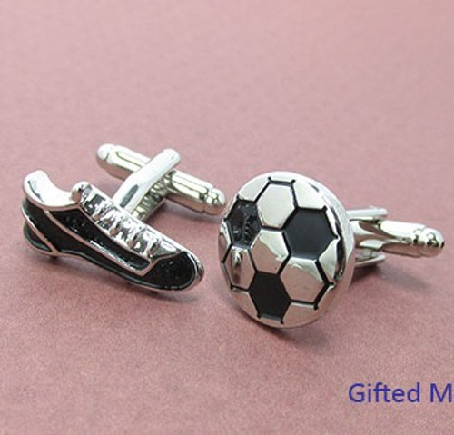 Enamel Soccer Boots and Ball Cufflinks