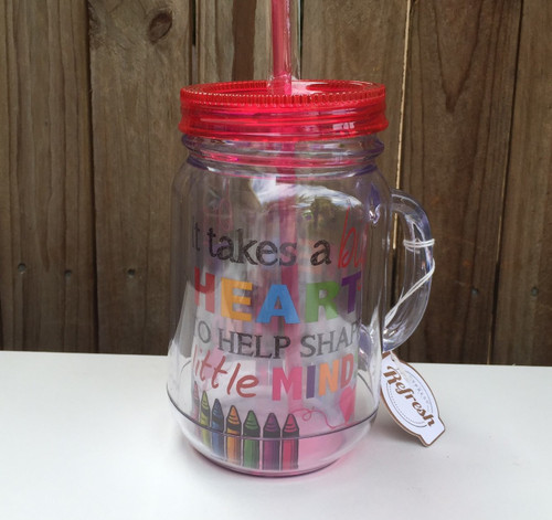 Teacher Mason Jar Cup with Straw