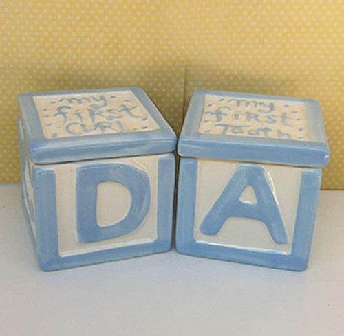 Ceramic First Tooth amd First Curl Blocks - Boy Or Girl