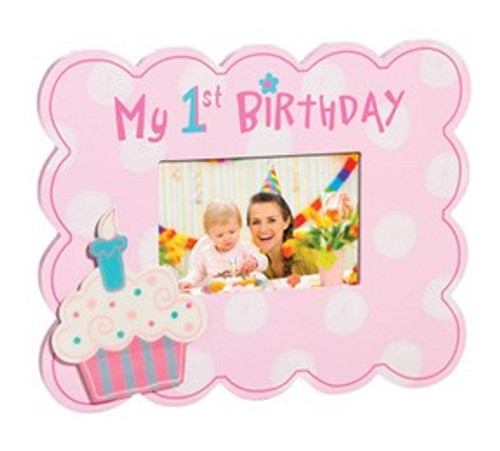 1st Birthday Cupcake Photo Frame - Pink or Blue