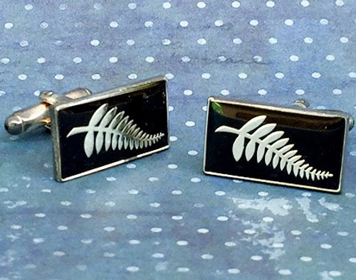 Men's Cufflinks - Silver Fern on black