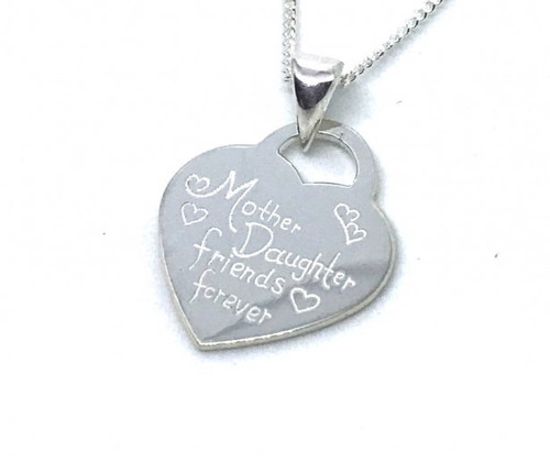 Mother and Daughter Heart Sterling Silver Necklace