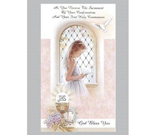 Girls Combined Confirmation and Communion Greeting Card