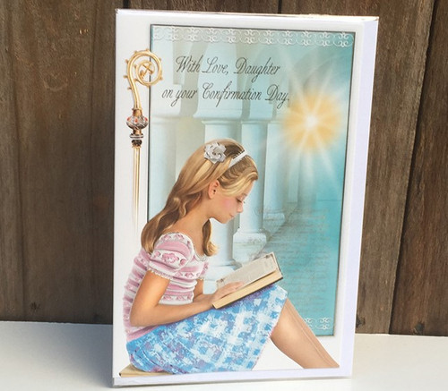 'With love, daughter' Girls Confirmation Card