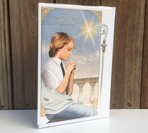 'With love, son' Boys Confirmation Card