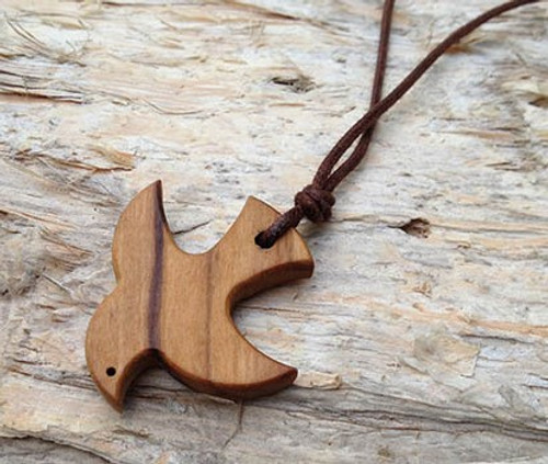Boys Olive Wood Dove Pendant