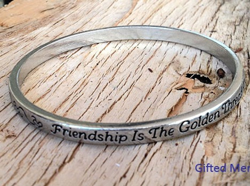 Pewter Bangle - Friendship is the Thread