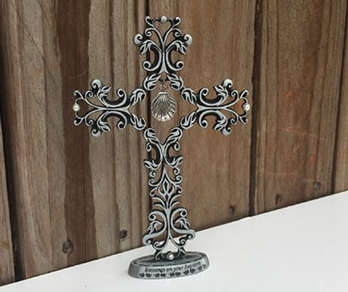 'Blessings On Your Baptism' standing pewter cross