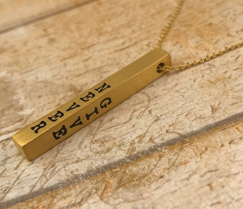 Inspiration Bar Necklace - Never Give Up