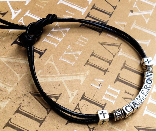 Boys Silver and Leather Name Reconciliation Bracelet