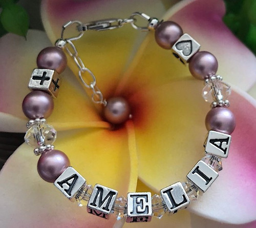 Crystal and Pearl Personalised Baby Christening Bracelet