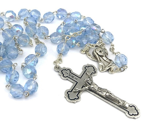 6mm Crystal Rosary Beads - Blue