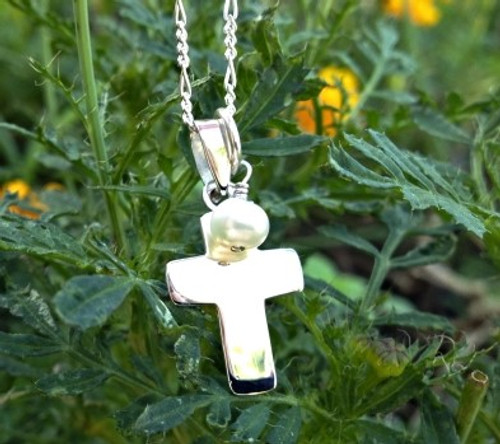 Sterling Silver Cross and Pearl Necklace