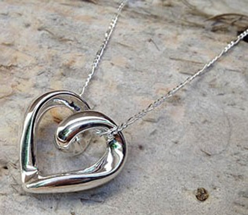 Sterling Silver Scroll Heart Necklace