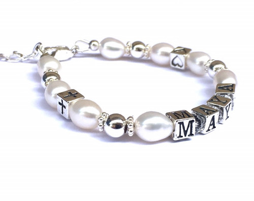 Silver and Pearl Christening Name Bracelet