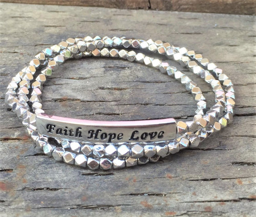 'Faith Hope Love' Multi-strand bracelet