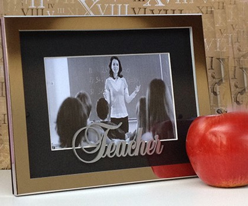 Silver and Black 'Teacher' Photo Frame