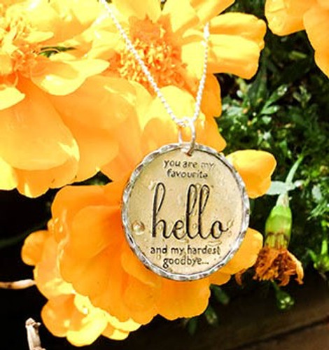 'You are my favourite hello....' Charm Necklace