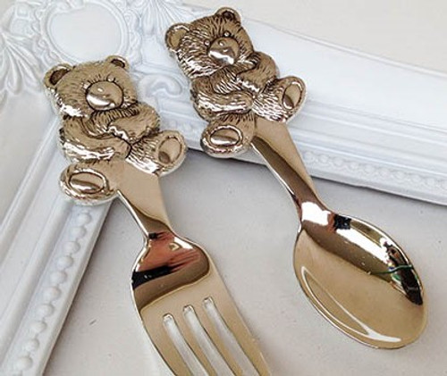 Silver Childs Cutlery Set - Teddy Design