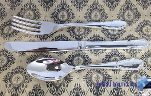 Engraved personalised silver toddlers cutlery set