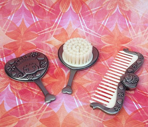 Princess Pewter Comb, Brush and Mirror Set