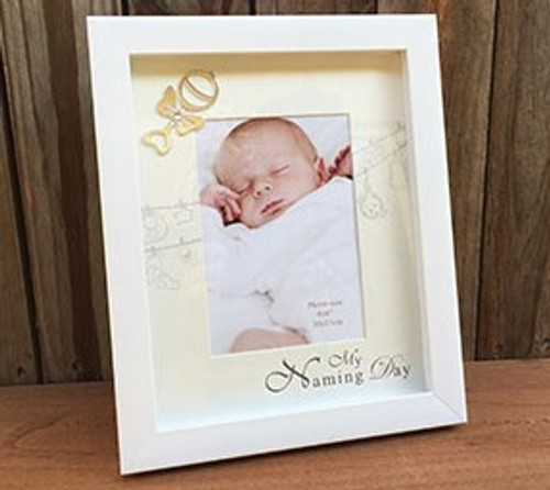 Silver and white naming day frame