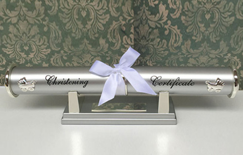 Christening certificate holder and stand