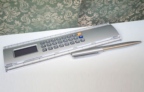Engravable executive calculator and pen set