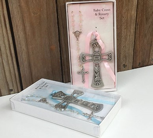 Pewter Crib Cross and Rosary - Pink Or Blue