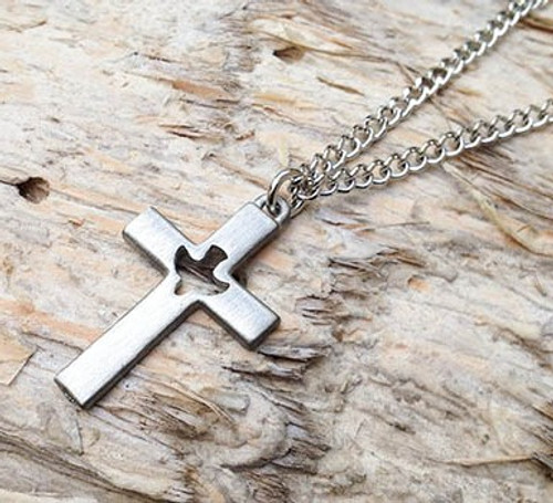 Pewter Cross with Holy Spirit Cut Out Pendant and chain