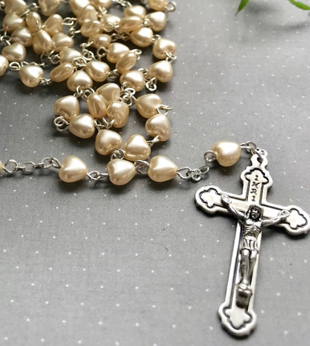 White Glass Heart Personalised Rosary Beads