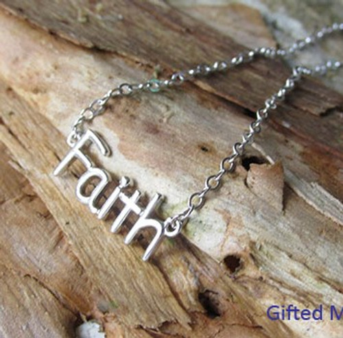 Sterling Silver 'Faith' necklace