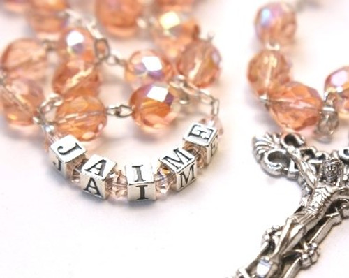 6mm Crystal Rosary Beads - Pink