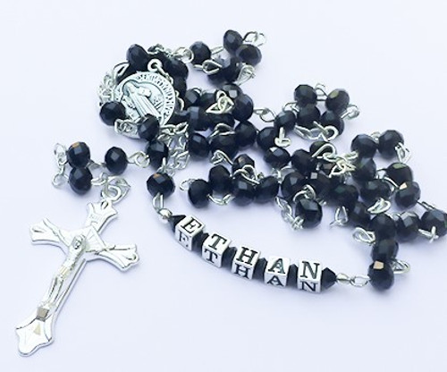 6mm Crystal Rosary Beads - Black