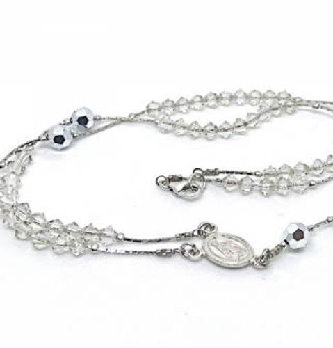 Swarovski and Sterling Silver Rosary Necklace