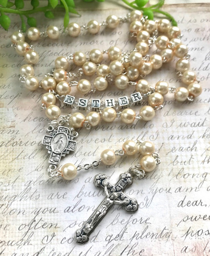 White Glass Pearl Personalised Rosary Beads