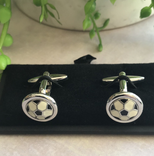 Men's Cufflinks - Black, Silver and White Soccer Balls